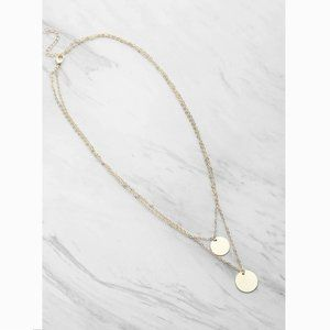 Coin Pendant Delicate Double Layered Necklace